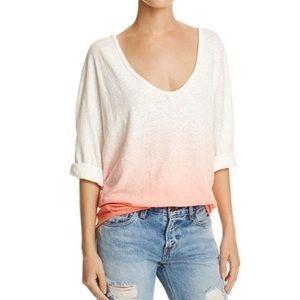 Free People Ombré 3/4 Sleeve Linen Cotton T Shirt